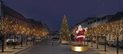 Lysskulptur af julemand på Østervold